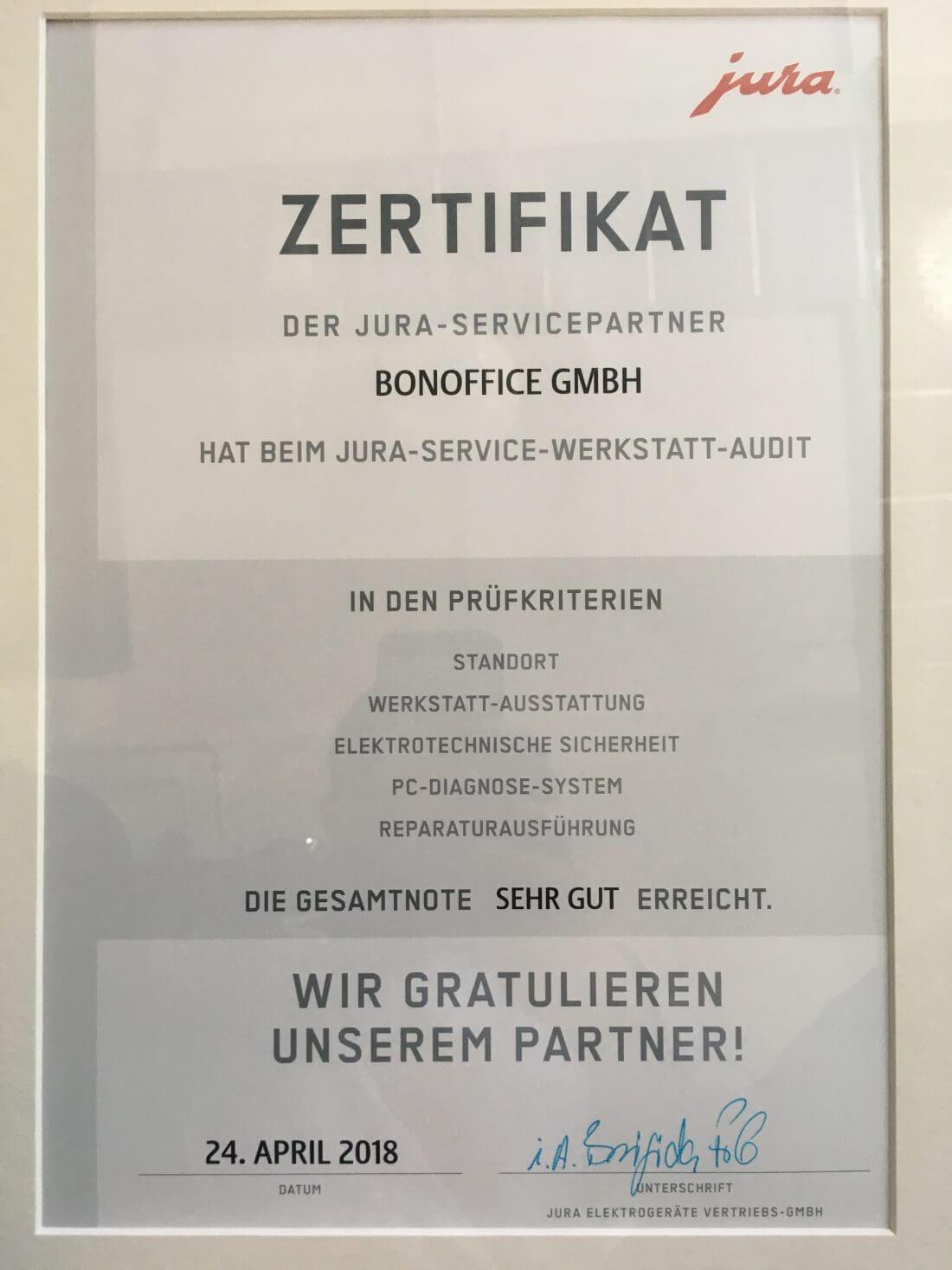 JURA Zertifikat